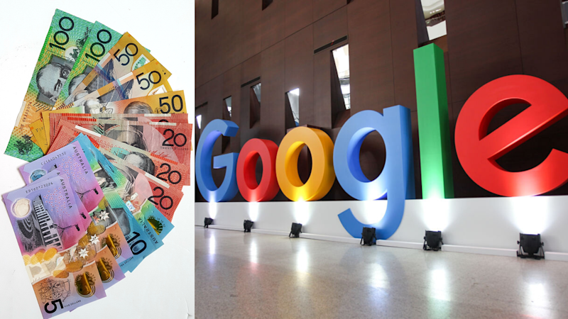 Pictured: Australian cash, Google logo in China. Images: Getty