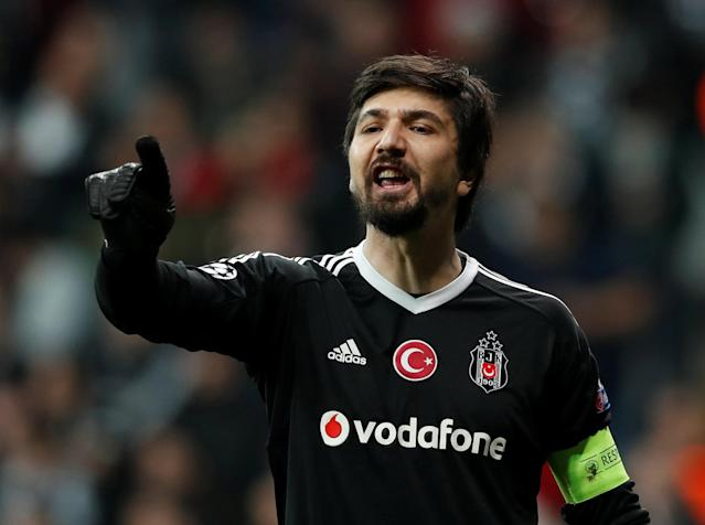 Soccer Football - Champions League Round of 16 Second Leg - Besiktas vs Bayern Munich - Vodafone Arena, Istanbul, Turkey - March 14, 2018 Besiktas' Tolga Zengin gestures REUTERS/Murad Sezer