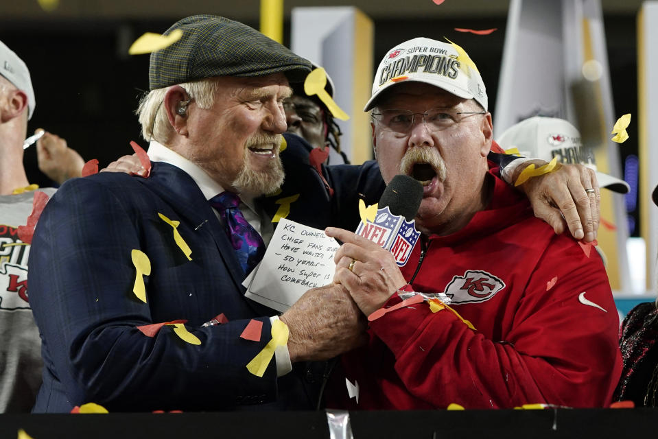 Kansas City Chiefs head coach Andy Reid speaks alongside broadcaster Terry Bradshaw after the Chiefs defeated the San Francisco 49ers in Super Bowl LIV in February. (AP Photo/David J. Phillip)