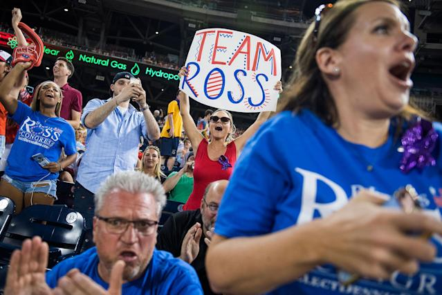 <p>Fans of Rep. Dennis Ross, R-Fla., cheer during the 56th Congressional Baseball Game at Nationals Park on June 15, 2017. (Photo: Tom Williams/CQ Roll Call/Getty Images) </p>