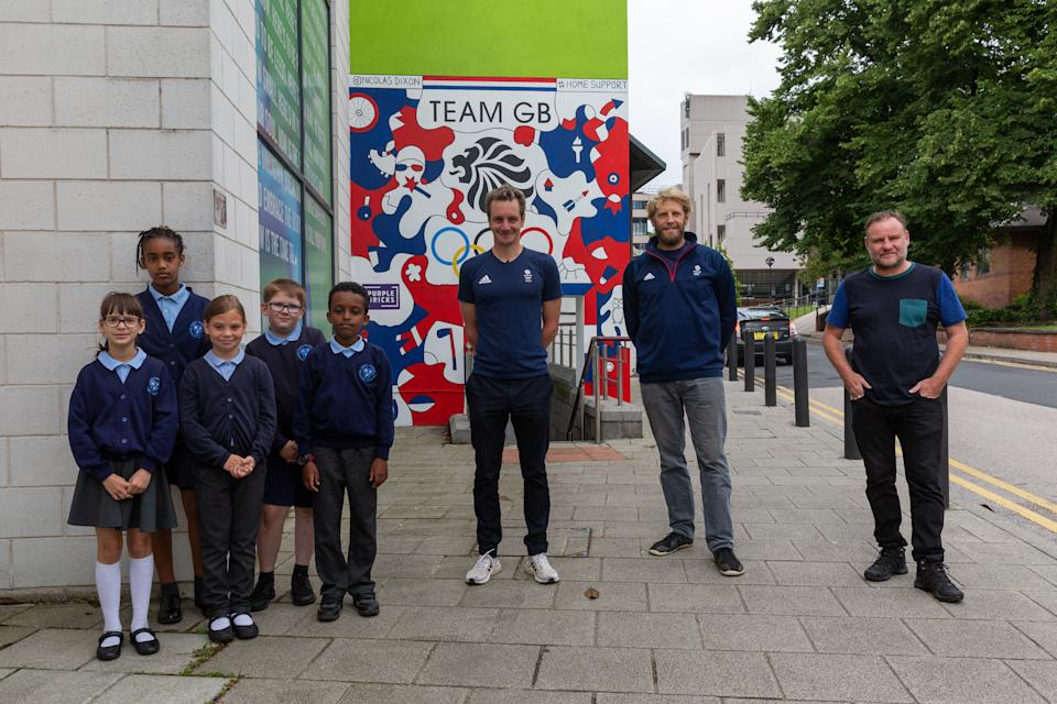 Brownlee visited Leeds alongside three-time Olympic champion Andrew Triggs Hodge for a special mural unveiling