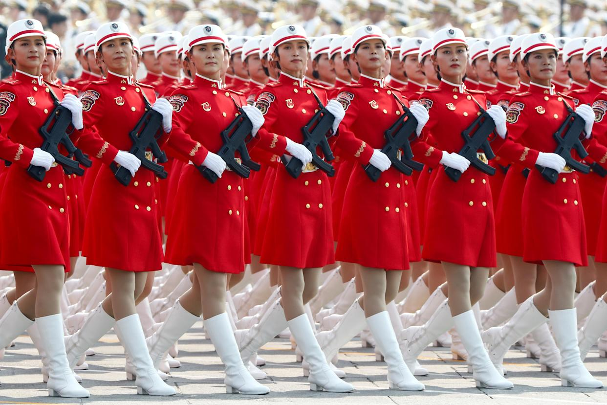 Militia members march in formation past Tiananmen Square during the military parade marking the 70th founding anniversary of People's Republic of China, on its National Day in Beijing, China October 1, 2019. (Photo: Thomas Peter/Reuters)