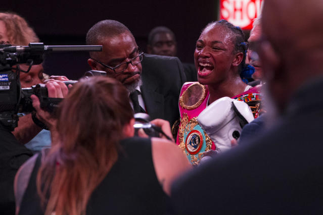 Claressa Shields, celebrating an April 13 victory over Christina Hammer, returns to thje ring on Oct. 5 in Flint, Michigan, when she faces Ivana Habazin for the WBO super welterweight title in a bout broadcast by Showtime. (Mitchell Leff/Getty Images)