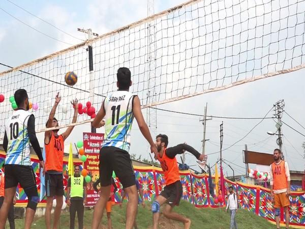 Visual of the Volleyball tournament at Udhamour,  Jammu and Kashmir (Photo/ANI)