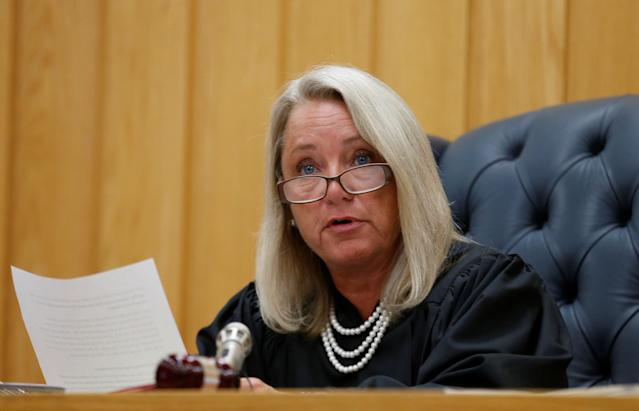 Eaton County Judge Janice Cunningham addresses the court during the sentencing hearing of Larry Nassar, a former team USA Gymnastics doctor who pleaded guilty in November 2017 to sexual assault charges, in the Eaton County Court in Charlotte, Michigan, U.S., February 5, 2018. REUTERS/Rebecca Cook
