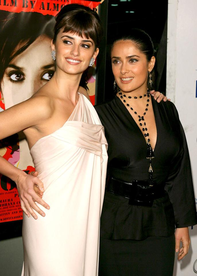 """Latin beauties Penelope Cruz and Salma Hayek are always there for one another. Jesse Grant/<a href=""""http://www.wireimage.com"""" target=""""new"""">WireImage.com</a> - November 2, 2006"""