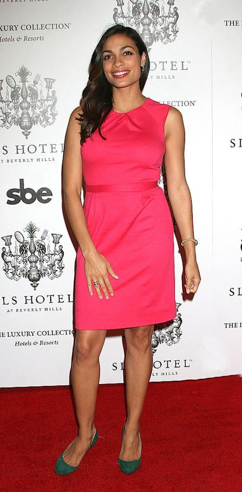 "We're not loving her dress, but we absolutely adore Rosario Dawson. Carlos Diaz/<a href=""http://www.infdaily.com"" target=""new"">INFDaily.com</a> - December 4, 2008"