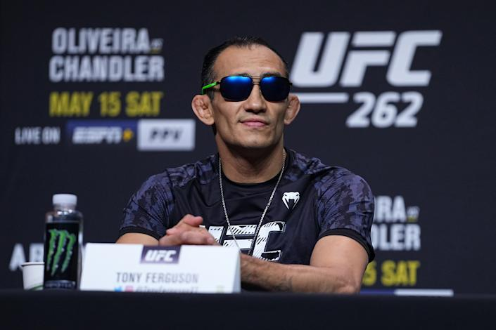 HOUSTON, TEXAS - MAY 13:  Tony Ferguson interacts with media during the UFC 262 press conference at George R. Brown Convention Center on May 13, 2021 in Houston, Texas. (Photo by Josh Hedges/Zuffa LLC)