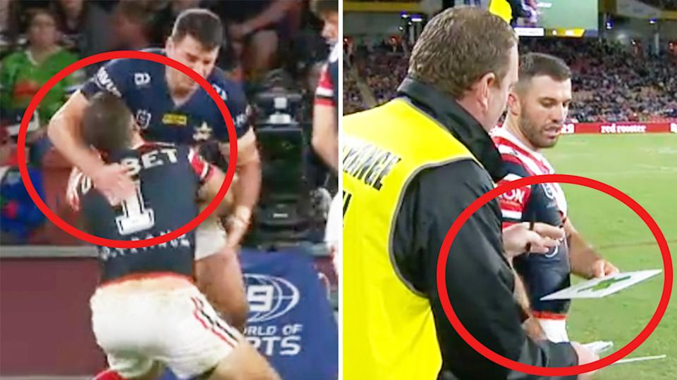 James Tedesco (pictured) left getting hit with a head-high tackle and (pictured right) returning to the field.