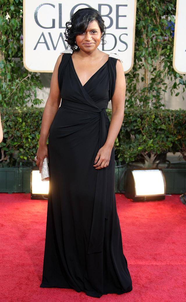 BEVERLY HILTON, CA - JANUARY 11: Actress Mindy Kaling arrives at the 66th Annual Golden Globe Awards held at the Beverly Hilton Hotel on January 11, 2009 in Beverly Hills, California. (Photo by Frazer Harrison/Getty Images)