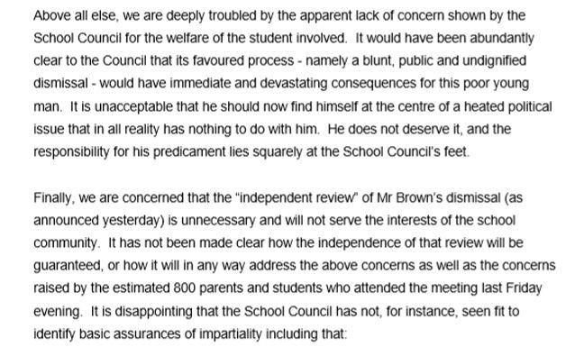 An extract from the letter written by former students to the school council. Source: Facebook / Concerned TGS Community