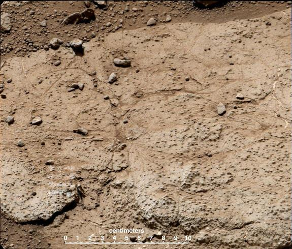 "This patch of bedrock, called ""Cumberland,"" has been selected as the second target for drilling by NASA's Mars rover Curiosity. Image released May 9, 2013."