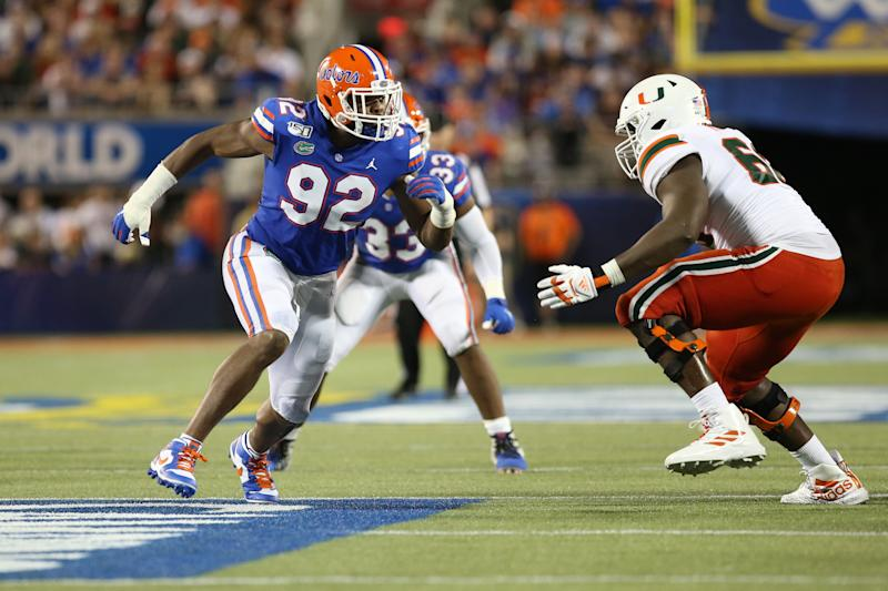 Florida pass rusher Jabari Zuniga is back from injury and faces a big test against Auburn. (Getty Images)
