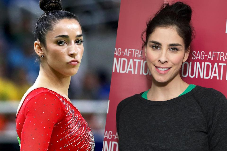 <p>American gymnast Aly Raisman (left) and comedian Sarah Silverman (right). </p>