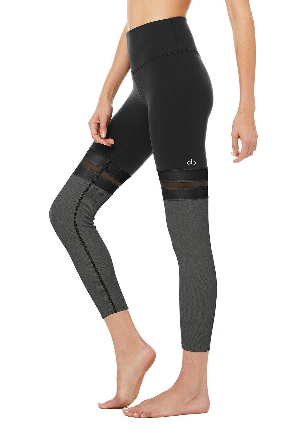 """<h3>Alo Player High Waist 7/8 Leggings</h3><br><strong><em>Overall Score: 4.0<br></em></strong><br><strong>Stretch: 4.5</strong><br>These were super stretchy and felt great on my body. The fabric wasn't super thick, so it was pretty breathable and moveable. <br><strong><br>Sweat wicking: 4</strong>.<strong>0</strong><br>Not the best, but also definitely not the worst. Because I prefer more techy fabrics for intense cardio, I'll probably reserve these for more low-impact workouts, like pilates (or brunch). While the nylon/spandex blend felt very cozy and soft, this style isn't the sort of legging that has the smooth, moisture-wicking sheen that performance fabrics do. <br><br><em>— Karina</em><br><br><strong>Alo Yoga</strong> 7/8 Player Leggings, $, available at <a href=""""https://go.skimresources.com/?id=30283X879131&url=https%3A%2F%2Fwww.aloyoga.com%2Fproducts%2Fw5821r-7-8-player-legging-black-charcoal-heather"""" rel=""""nofollow noopener"""" target=""""_blank"""" data-ylk=""""slk:Alo Yoga"""" class=""""link rapid-noclick-resp"""">Alo Yoga</a>"""