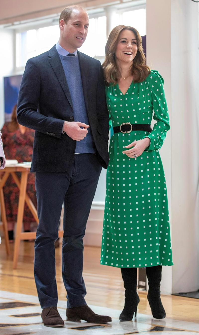 The Duchess of Cambridge wore a bespoke green midi dress by British designer, Suzannah Crabb for the final day of the couple's visit to Ireland. (Image via Getty Images).