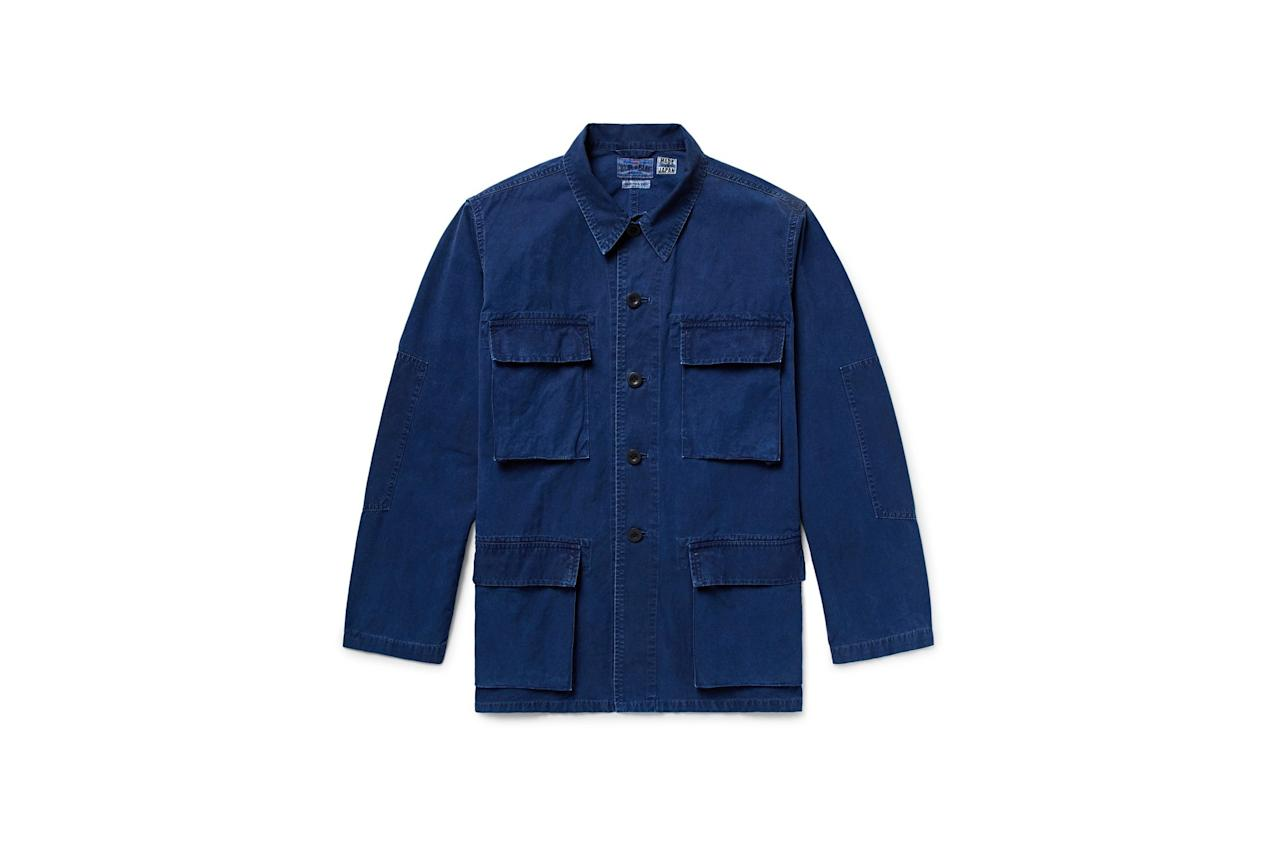 "<p>$415, buy now at <a rel=""nofollow"" href=""https://www.mrporter.com/en-us/mens/blue_blue_japan/indigo-dyed-cotton-shirt-jacket/819279?mbid=synd_yahoostyle"">mrporter.com</a></p>"