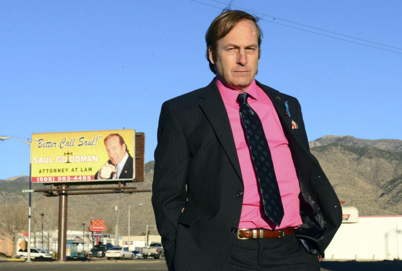 """FILE - This image released by AMC shows Bob Odenkirk in a scene from the final season of """"Breaking Bad."""" AMC and Sony Pictures Television confirmed that Odenkirk, who plays Saul Goodman, will star in a one-hour prequel tentatively titled """"Better Call Saul."""" (AP Photo/AMC, Ursula Coyote, file)"""