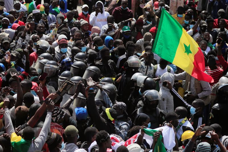Supporters of opposition leader Ousmane Sonko protest in Dakar