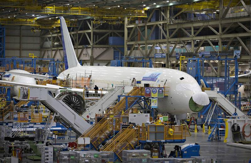 A Boeing 787 sits on the assembly line at the company's operations in Everett