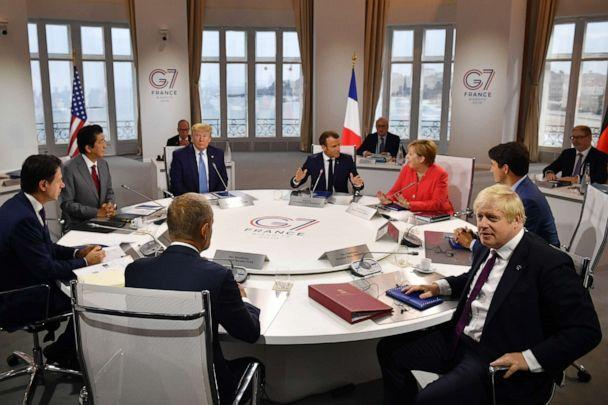 PHOTO: Canada's Justin Trudeau, Britain's Boris Johnson, Germany's Angela Merkel, European Council's Donald Tusk, France's Emmanuel Macron, Italy's Giuseppe Conte, Japan's Shinzo Abe and Donald Trump meet at the G-7 on Aug. 25, 2019 in Biarritz, France. (Jeff J. Mitchell/Pool via Getty Images)
