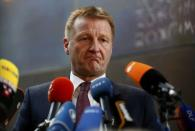 North Rhine Westphalia state Interior Minister Ralf Jaeger makes a statement after an internal commitee meeting of North-Rhine Westphalia state parliament in Duesseldorf, Germany January 11, 2016. REUTERS/Ina Fassbender