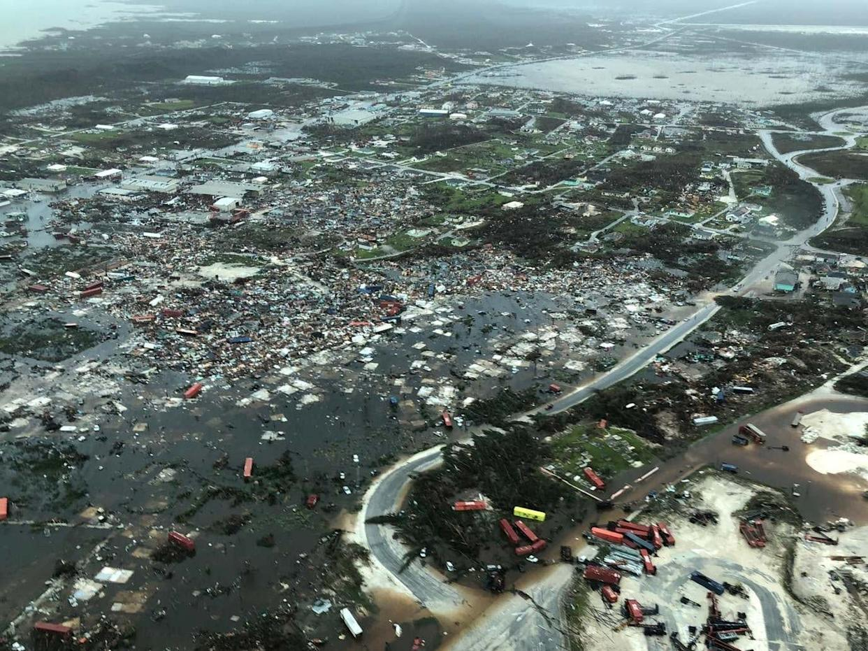 An aerial view shows devastation after hurricane Dorian hit the Abaco Islands in the Bahamas: Michelle Cove/Trans Island Airways/via REUTERS