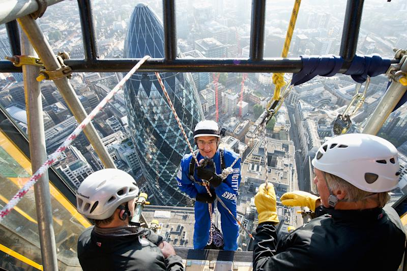 Sir Michael Hintze abseiling for charity: Eamonn M. McCormack/Getty Images