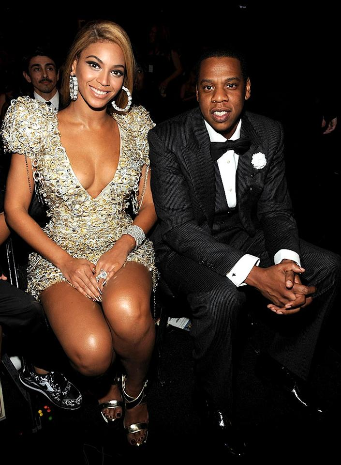 """Talk about a power couple! Beyonce and Jay-Z have plenty of reasons to smile, including the matching Grammy Awards they took home from the 52nd annual ceremony last month, and their marriage of almost two years. Kevin Mazur/<a href=""""http://www.wireimage.com"""" target=""""new"""">WireImage.com</a> - January 31, 2010"""