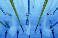 <p>Schmidt helps her U.S. teammates to the silver medal in the women's 4x200m freestyle relay.</p>
