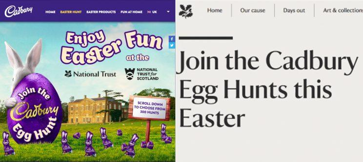 Easter appears prominently on both websites