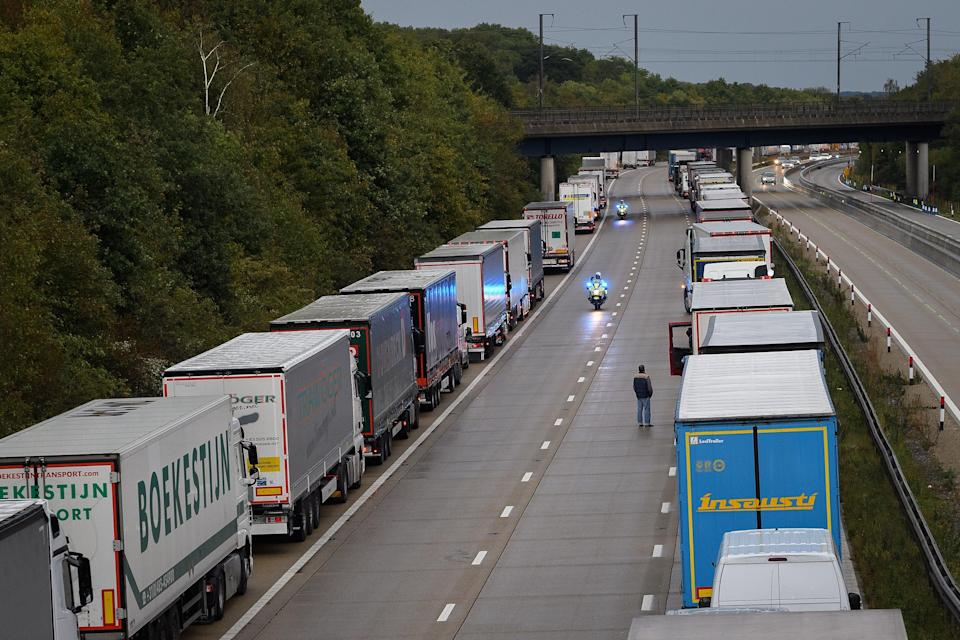 <p>Lorries back up as Operation Stack is activated on Kent motorway</p> (Getty)