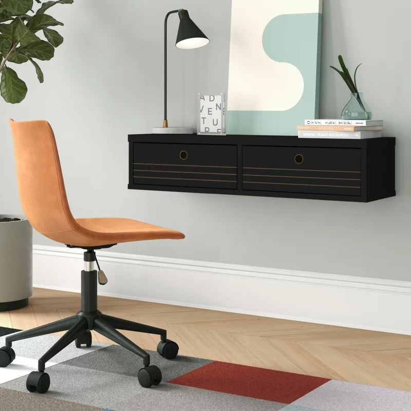 "<h3>Foundstone Hayward Floating Desk<br></h3><br>Your walls can actually be precious space-saving real estate if they're not already covered in framed photos and artwork. This floating desk is a practical way to create a new and useable workspace without taking up room on the floor.<br><br><strong>Foundstoneu2122</strong> Hayward Solid Wood Floating Desk, $, available at <a href=""https://go.skimresources.com/?id=30283X879131&url=https%3A%2F%2Fwww.wayfair.com%2Ffurniture%2Fpdp%2Ffoundstone-hayward-solid-wood-floating-desk-w001957511.html"" rel=""nofollow noopener"" target=""_blank"" data-ylk=""slk:Wayfair"" class=""link rapid-noclick-resp"">Wayfair</a>"