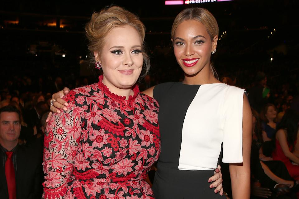 Singers Adele and Beyonce attend the 55th Annual Grammy Awards in 2013.