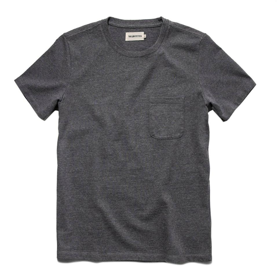 """<p><strong>Taylor Stitch</strong></p><p>huckberry.com</p><p><a href=""""https://go.redirectingat.com?id=74968X1596630&url=https%3A%2F%2Fhuckberry.com%2Fstore%2Ftaylor-stitch%2Fcategory%2Fp%2F65125-heavy-bag-tee&sref=https%3A%2F%2Fwww.menshealth.com%2Fstyle%2Fg33472054%2Fhuckberry-semi-annual-summer-sale-mens-deals%2F"""" rel=""""nofollow noopener"""" target=""""_blank"""" data-ylk=""""slk:buy it here"""" class=""""link rapid-noclick-resp"""">buy it here</a></p><p><del>$45.00</del><strong><br>$35.98 </strong></p><p>Consider this one your new go-to comfy T-shirt any occasion. There's even a small pocket for your AirPods! </p>"""