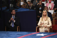 Eric Trump and Ivanka Trump arrive before President Donald Trump and Democratic presidential candidate former Vice President Joe Biden participate in the first presidential debate Tuesday, Sept. 29, 2020, at Case Western University and Cleveland Clinic, in Cleveland. (Olivier Douliery/Pool vi AP)
