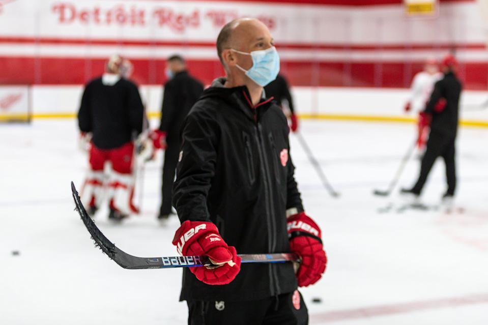 Detroit Red Wings coach Jeff Blashill during the first training camp practice at the Little Caesars Arena practice rink, Jan. 1, 2021.
