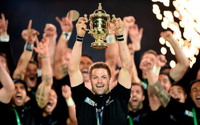Richie McCaw was the last captain to lift the William Webb Ellis trophy, in 2015 - AFP