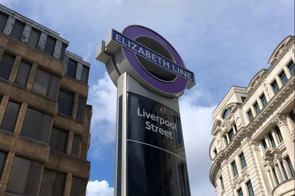 New roundel outside Liverpool Street new Crossrail station, July 5, 2021 (Ross Lydall)