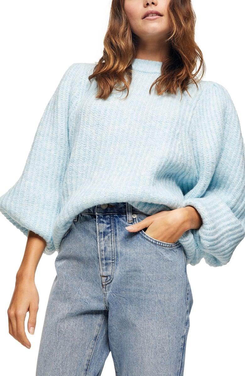 <p>The color of this <span>Topshop Balloon Sleeve Crewneck Sweater</span> ($68) is so pretty.</p>
