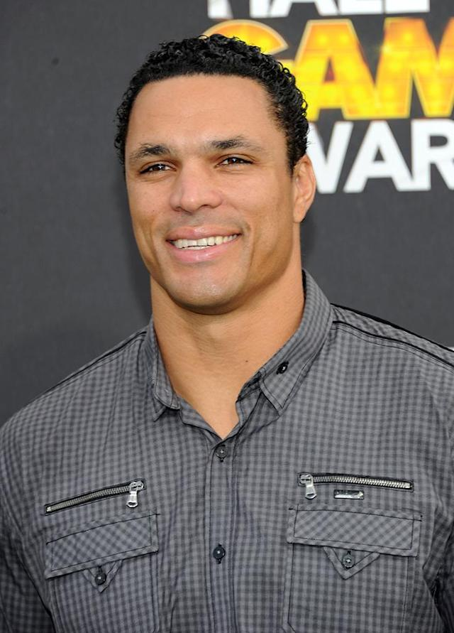 Tony Gonzalez arrives at the 2012 Cartoon Network Hall of Game Awards at Barker Hangar on February 18, 2012 in Santa Monica, California. (Photo by Michael Buckner/WireImage)