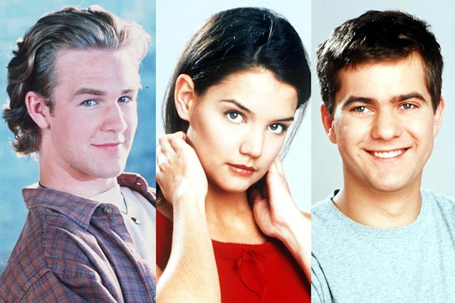 From left, Dawson (James Van Der Beek), Joey (Katie Holmes), and Pacey (Joshua Jackson). (Photo: Getty Images)