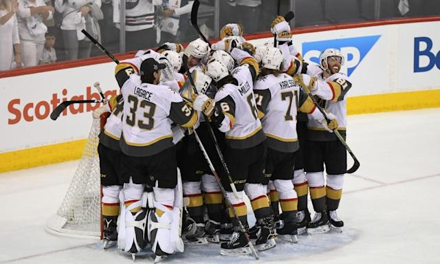 "<span class=""element-image__caption"">The Vegas Golden Knights celebrate defeating the Winnipeg Jets to make the Stanley Cup final. </span> <span class=""element-image__credit"">Photograph: David Lipnowski/Getty Images</span>"