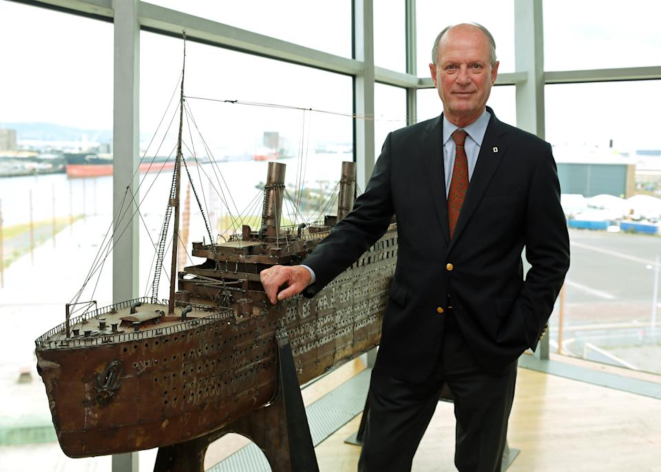 Dr Robert Ballard, who discovered the wreck of Titanic in 1985, at Titanic Belfast during the launch of a 19 million dollar bid to buy a collection of 5,500 artefacts from the Titanic wreck site and bring them to Belfast. (Photo by Niall Carson/PA Images via Getty Images)