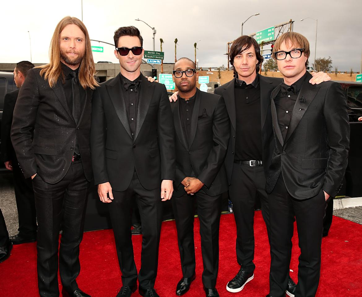 LOS ANGELES, CA - FEBRUARY 10:  Maroon 5 band members James Valentine, Adam Levine, PJ Morton, Matt Flynn and Mickey Madden arrive at the 55th Annual GRAMMY Awards on February 10, 2013 in Los Angeles, California.  (Photo by Christopher Polk/Getty Images for NARAS)