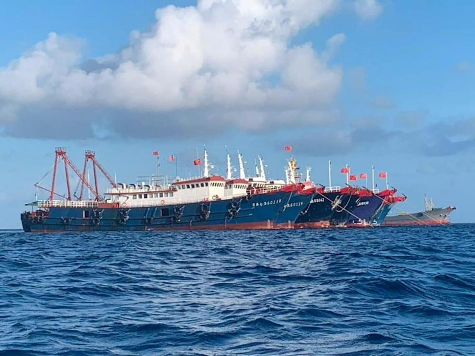 Chinese vessels at Whitsun Reef in the South China Sea in March