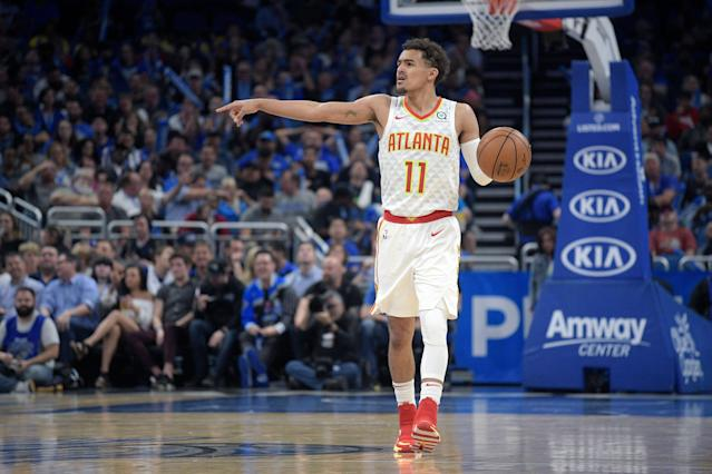 Atlanta Hawks guard Trae Young (11) was one of two unanimous selections to the NBA All-Rookie team. (AP Photo/Phelan M. Ebenhack)