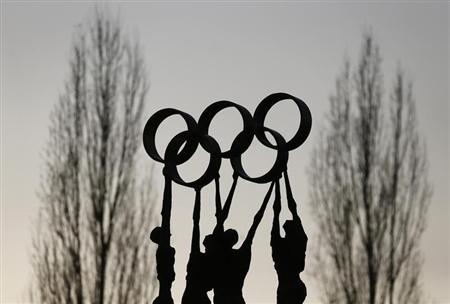 A statue is pictured in front of the International Olympic Committee headquarters in Lausanne