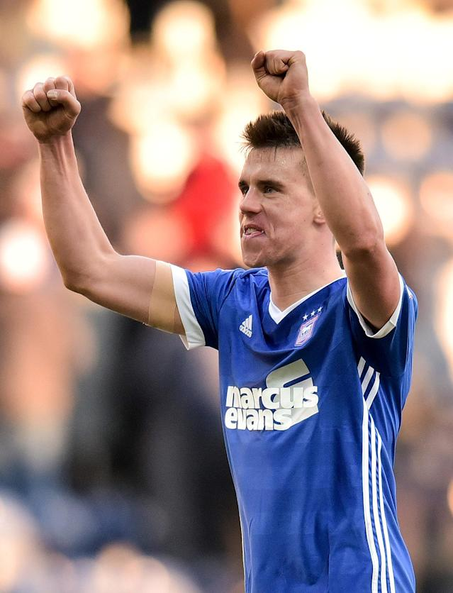 """Soccer Football - Championship - Preston North End vs Ipswich Town - Deepdale, Preston, Britain - February 24, 2018 Ipswich Town's Jonas Knudsen celebrates at full time Action Images/Paul Burrows EDITORIAL USE ONLY. No use with unauthorized audio, video, data, fixture lists, club/league logos or """"live"""" services. Online in-match use limited to 75 images, no video emulation. No use in betting, games or single club/league/player publications. Please contact your account representative for further details."""