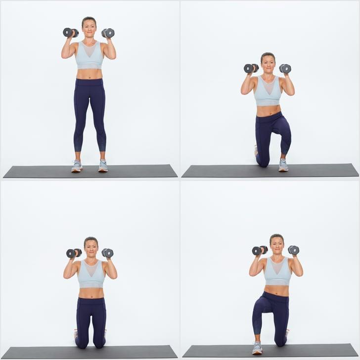 <ul> <li>Stand holding weights in both hands just above your shoulders with bent elbows.</li> <li>Bring your right knee to the ground. Bring your left knee down as well so you are kneeling.</li> <li>Lift your right foot up and place it in front of you. Bring your left foot forward as you stand up. Keep the weights at your shoulders at all times.</li> <li>This completes one rep.</li> </ul>